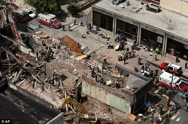 Demolished building in Philadelphia, July, 2013. Six died and 13 were injured in the accident. Photo: AP